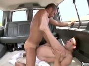 In the van two hunks are having anal sex