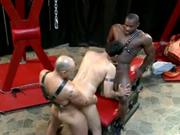 Two Muscular Black Dudes Banging A White Ass