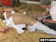 Tied up stud gets jerked off