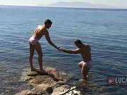 Great outdoor fuck with two studs