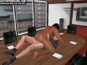 3D ebony hunk fucked at work