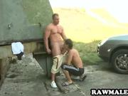 Muscular hunk sucked off outdoors