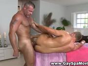 Gay masseur ass fucks client