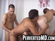 Three sexy hunks are sucking and fucking
