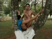 Great outdoor gay scene with two dudes