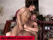 Mechanic guy jumping deep on a cock