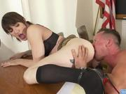 Transsexual teacher Lena Moon barebacked