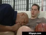 Bald ghetto dude gets covered in semen