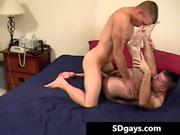 Sexy gay stud takes monster cock up the