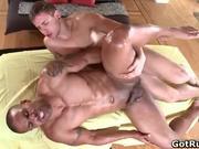 Beefcake ebony hunk gets hairy gay butt