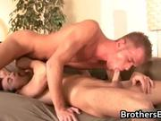 Brothers sexy b-yfriend gets cock sucked