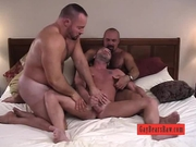 Two bald bears tag team fuck a lucky stud
