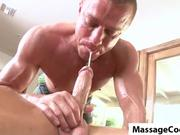 Oily rub down leads to juicy cock sucking