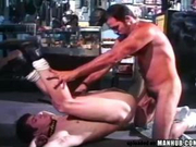 Hairy guy and his friend in a sex store