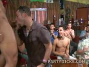 Wild party guys suck stripper dick in public