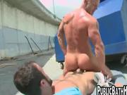 Horny guys fucking in public