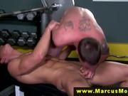 Straight muscled dude sucked off and rimmed