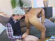 Tan hunk fucked by pale big cock stud