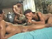 Gay sex porno orgy with black thugs fucking