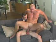 Bald hunk gets ass fucked bareback