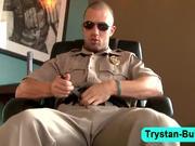 Muscle hunk Trystan Bull jerking off