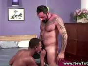 Bearded daddy swallows big black cock