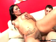 Hot Latin shemale has big tits and a fat ass