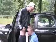 Great bareback fuck on hood of car
