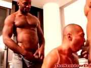 Interacial hunks cocksucking threeway
